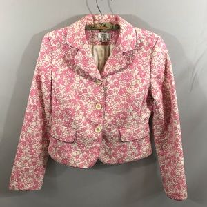 Ann Taylor Loft pink and white floral jacket